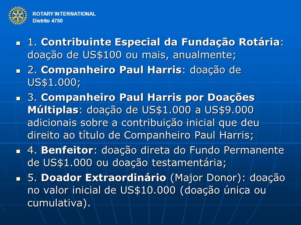 ROTARY INTERNATIONAL Distrito 4750 1. Contribuinte Especial da Fundação Rotária: doação de US$100 ou mais, anualmente; 1. Contribuinte Especial da Fun
