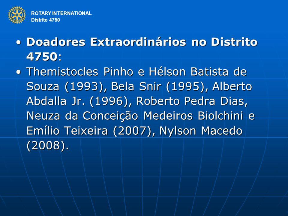 ROTARY INTERNATIONAL Distrito 4750 Doadores Extraordinários no Distrito 4750:Doadores Extraordinários no Distrito 4750: Themistocles Pinho e Hélson Batista de Souza (1993), Bela Snir (1995), Alberto Abdalla Jr.