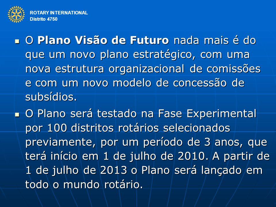 ROTARY INTERNATIONAL Distrito 4750 O Plano Visão de Futuro nada mais é do que um novo plano estratégico, com uma nova estrutura organizacional de comi