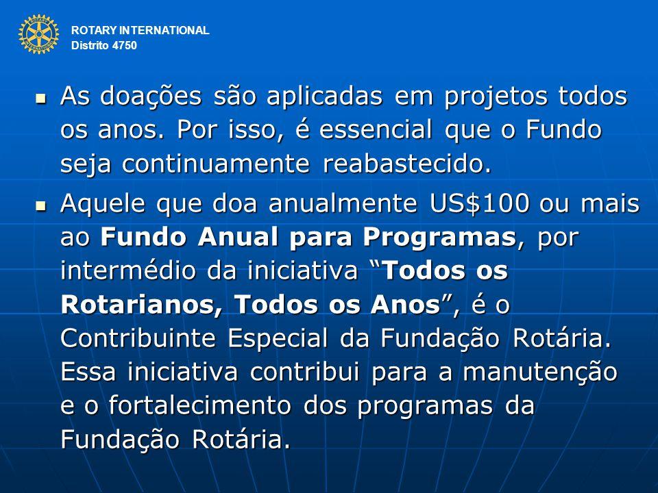 ROTARY INTERNATIONAL Distrito 4750 As doações são aplicadas em projetos todos os anos. Por isso, é essencial que o Fundo seja continuamente reabasteci