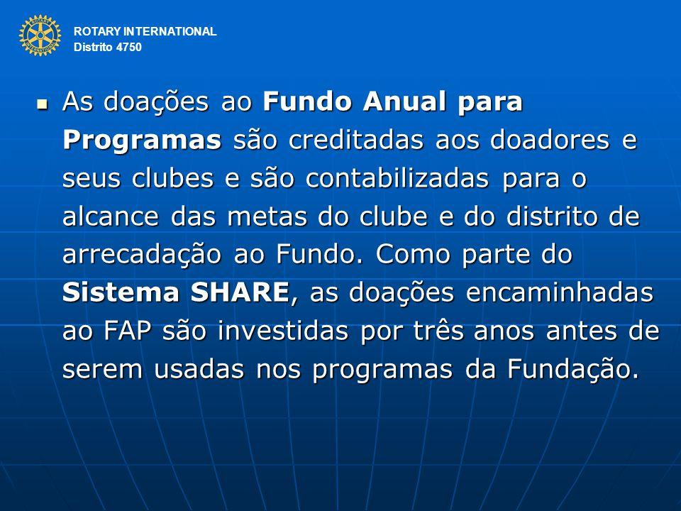 ROTARY INTERNATIONAL Distrito 4750 As doações ao Fundo Anual para Programas são creditadas aos doadores e seus clubes e são contabilizadas para o alcance das metas do clube e do distrito de arrecadação ao Fundo.