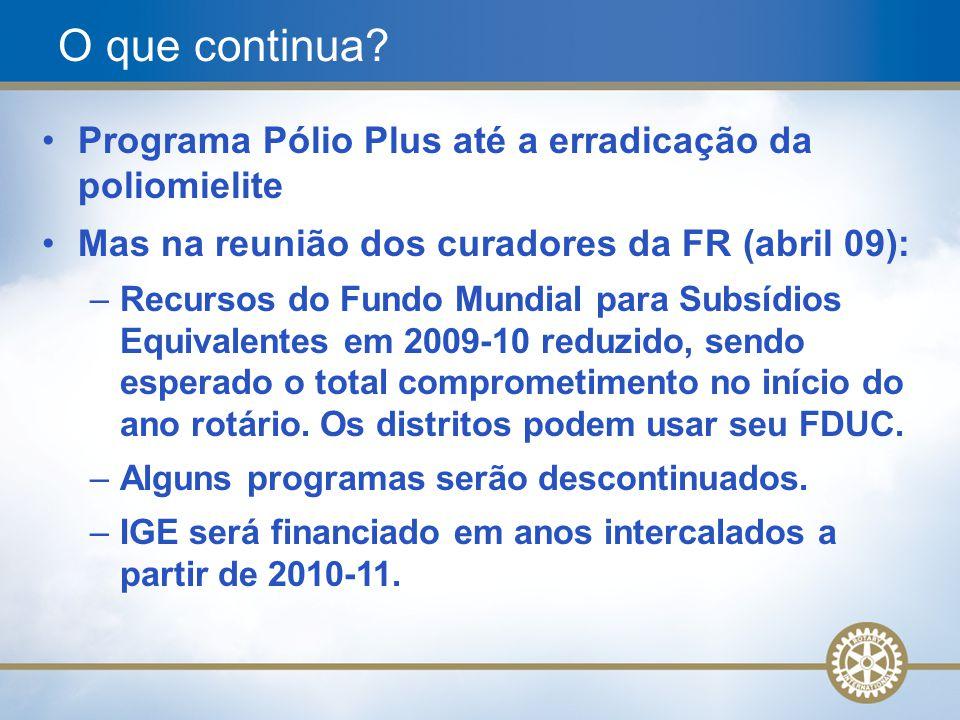 9 Programa Pólio Plus até a erradicação da poliomielite Mas na reunião dos curadores da FR (abril 09): –Recursos do Fundo Mundial para Subsídios Equiv