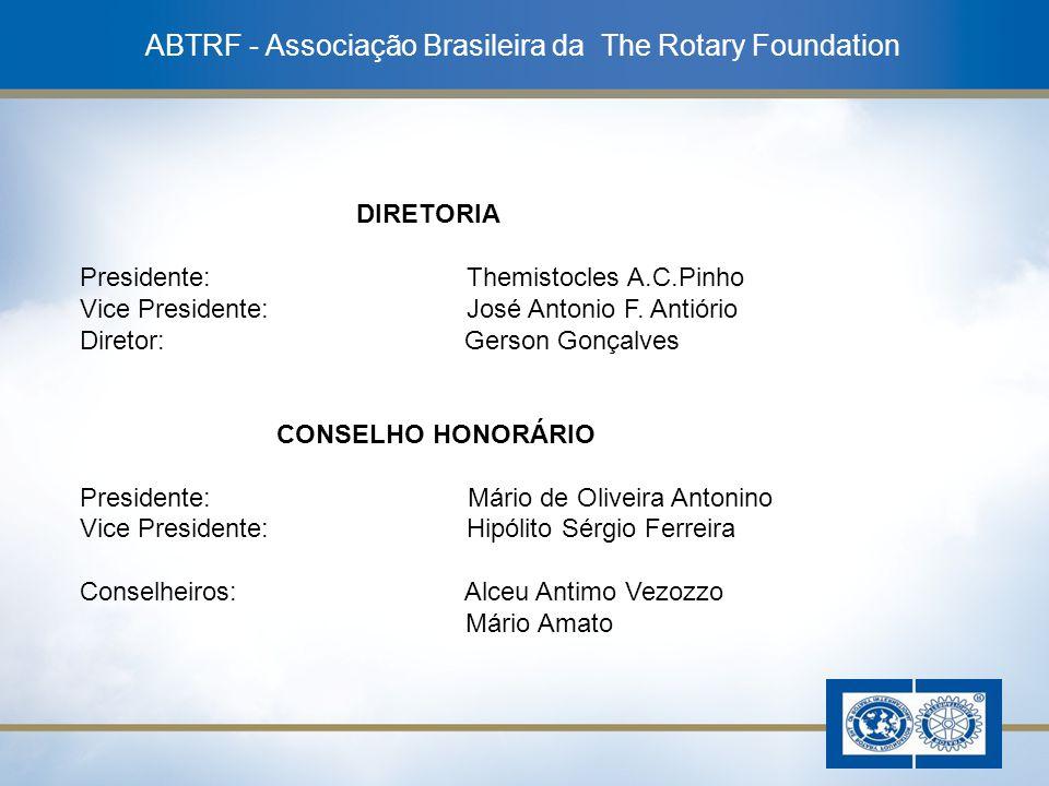 15 ABTRF - Associação Brasileira da The Rotary Foundation DIRETORIA Presidente: Themistocles A.C.Pinho Vice Presidente: José Antonio F. Antiório Diret