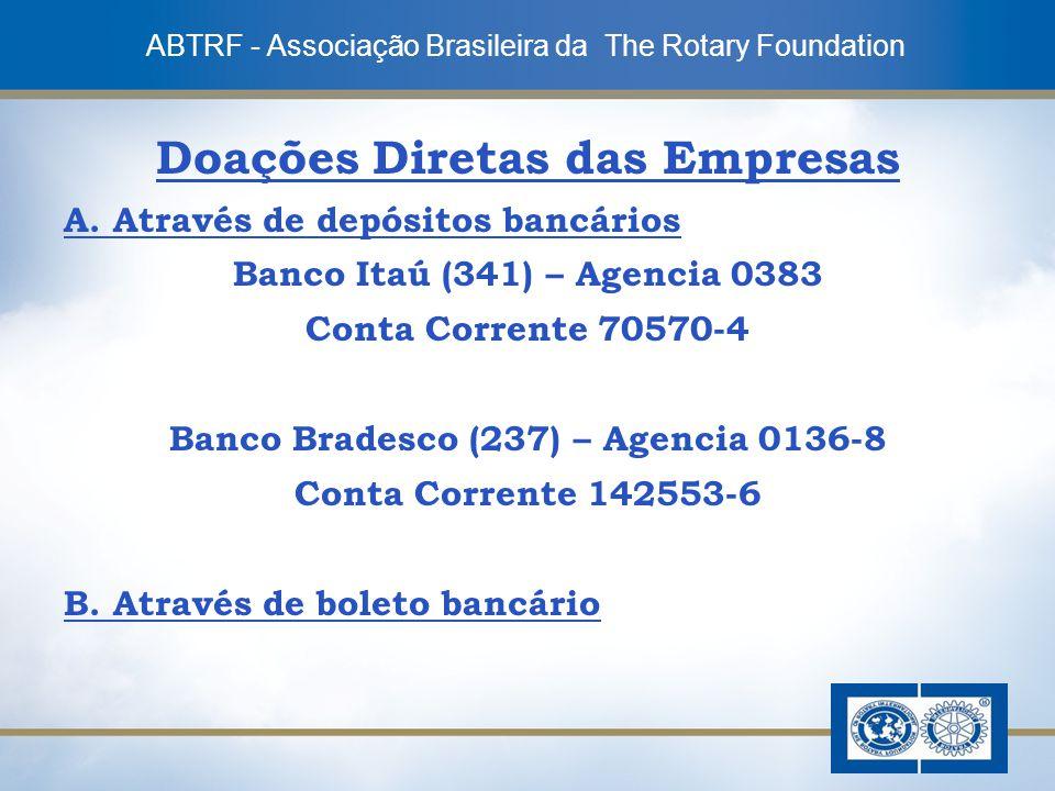 7 Doações Diretas das Empresas A. Através de depósitos bancários Banco Itaú (341) – Agencia 0383 Conta Corrente 70570-4 Banco Bradesco (237) – Agencia
