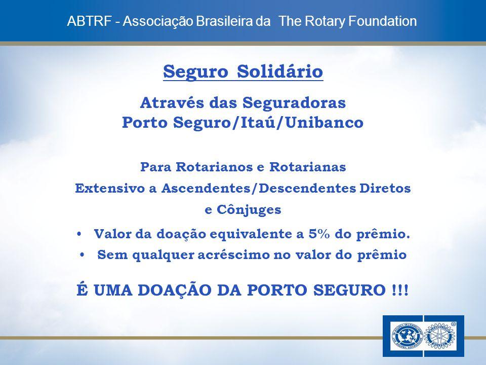 9 Seguro Solidário Através das Seguradoras Porto Seguro/Itaú/Unibanco Para Rotarianos e Rotarianas Extensivo a Ascendentes/Descendentes Diretos e Cônj
