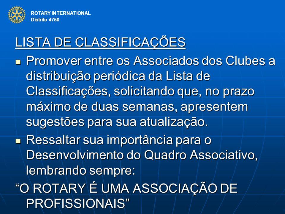 ROTARY INTERNATIONAL Distrito 4750 LISTA DE CLASSIFICAÇÕES Promover entre os Associados dos Clubes a distribuição periódica da Lista de Classificações