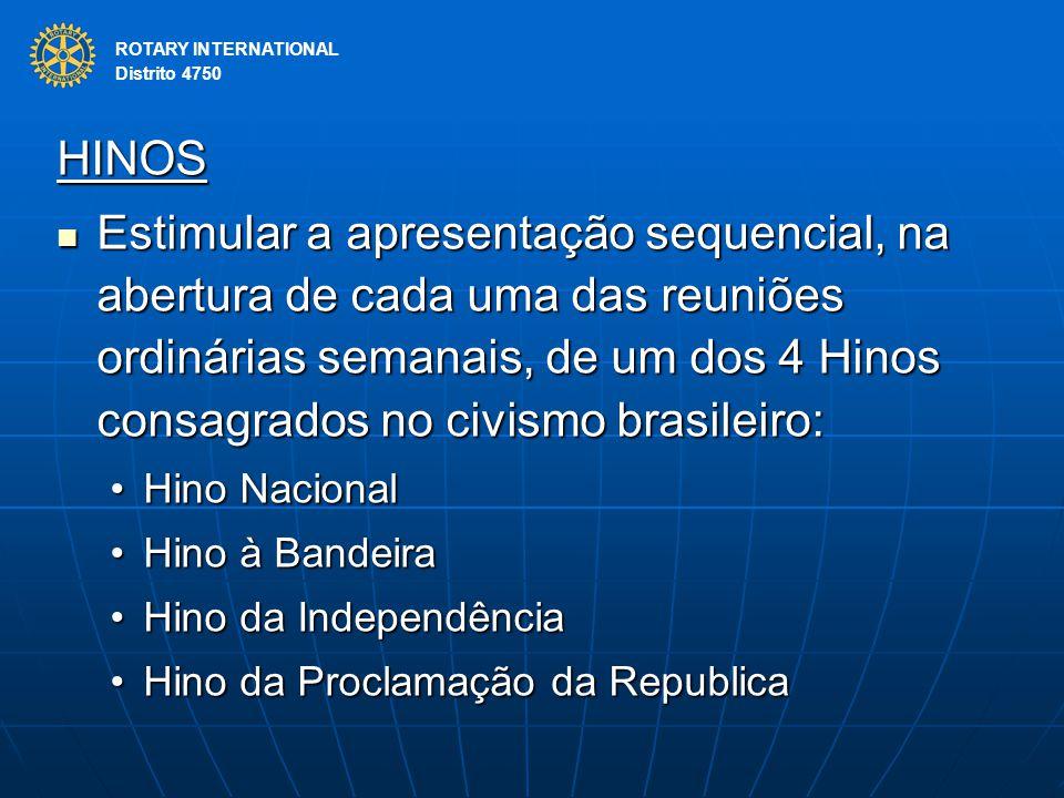 ROTARY INTERNATIONAL Distrito 4750 HINOS Estimular a apresentação sequencial, na abertura de cada uma das reuniões ordinárias semanais, de um dos 4 Hi