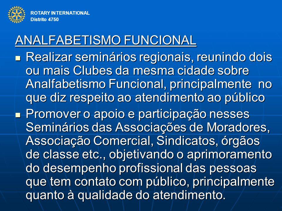 ROTARY INTERNATIONAL Distrito 4750 ANALFABETISMO FUNCIONAL Realizar seminários regionais, reunindo dois ou mais Clubes da mesma cidade sobre Analfabet