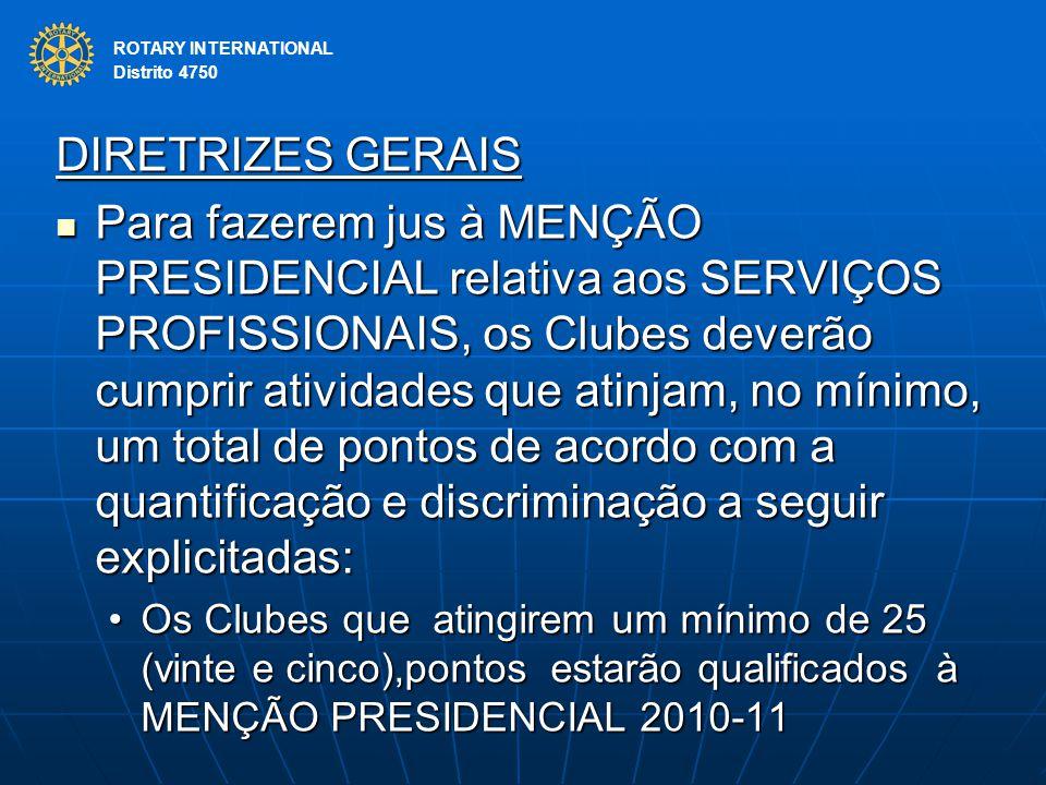ROTARY INTERNATIONAL Distrito 4750 DIRETRIZES GERAIS Para fazerem jus à MENÇÃO PRESIDENCIAL relativa aos SERVIÇOS PROFISSIONAIS, os Clubes deverão cum