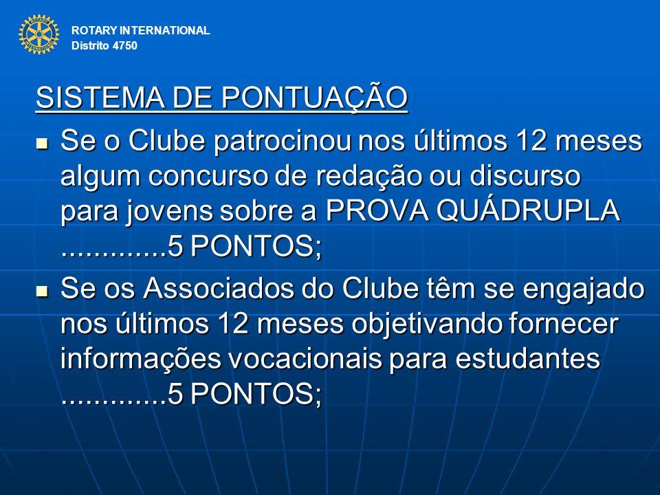 ROTARY INTERNATIONAL Distrito 4750 SISTEMA DE PONTUAÇÃO Se o Clube patrocinou nos últimos 12 meses algum concurso de redação ou discurso para jovens s