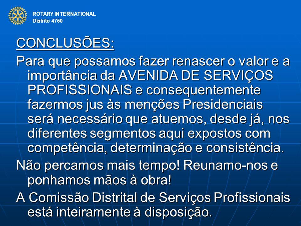 ROTARY INTERNATIONAL Distrito 4750 CONCLUSÕES: Para que possamos fazer renascer o valor e a importância da AVENIDA DE SERVIÇOS PROFISSIONAIS e consequ