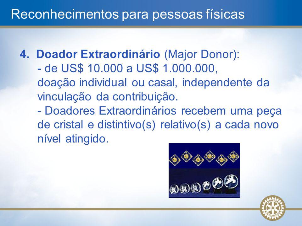 4. Doador Extraordinário (Major Donor): - de US$ 10.000 a US$ 1.000.000, doação individual ou casal, independente da vinculação da contribuição. - Doa