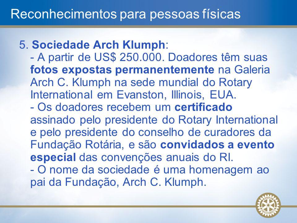 5. Sociedade Arch Klumph: - A partir de US$ 250.000. Doadores têm suas fotos expostas permanentemente na Galeria Arch C. Klumph na sede mundial do Rot