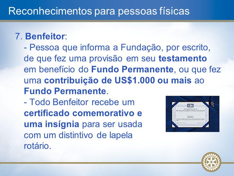 7. Benfeitor: - Pessoa que informa a Fundação, por escrito, de que fez uma provisão em seu testamento em benefício do Fundo Permanente, ou que fez uma
