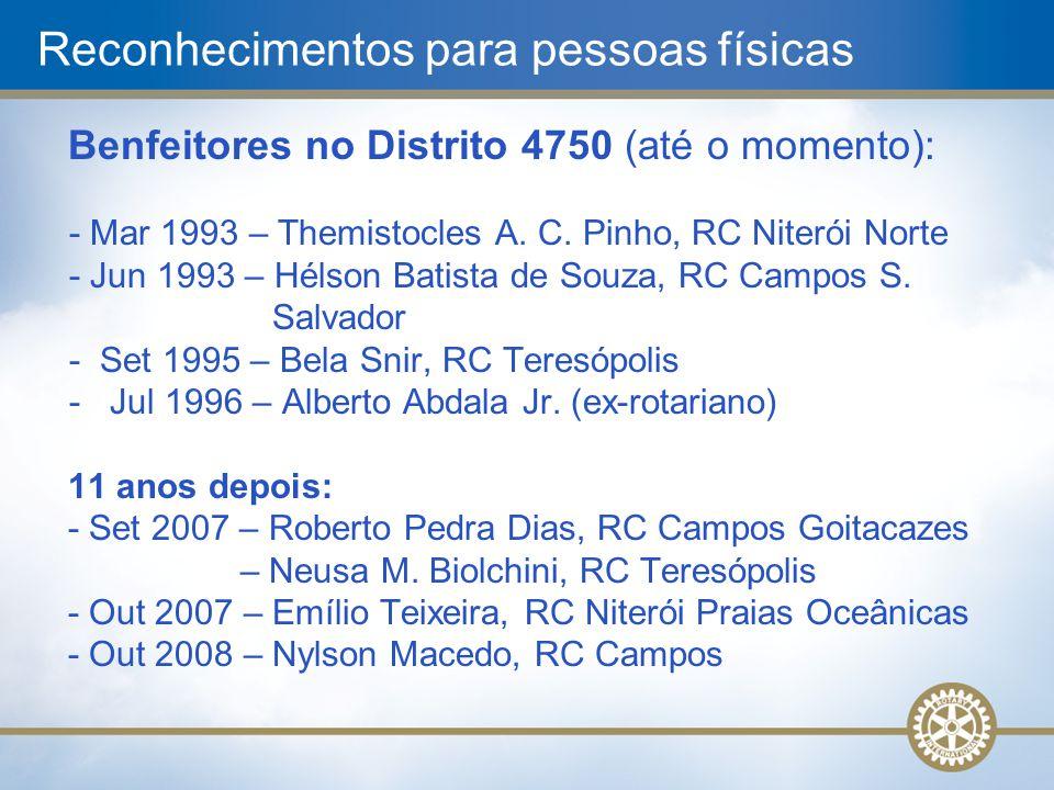 Benfeitores no Distrito 4750 (até o momento): - Mar 1993 – Themistocles A. C. Pinho, RC Niterói Norte - Jun 1993 – Hélson Batista de Souza, RC Campos