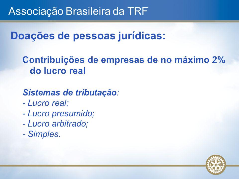 Associação Brasileira da TRF Doações de pessoas jurídicas: Contribuições de empresas de no máximo 2% do lucro real Sistemas de tributação: - Lucro rea