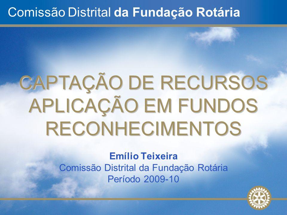 Comissão Distrital da Fundação Rotária CAPTAÇÃO DE RECURSOS APLICAÇÃO EM FUNDOS RECONHECIMENTOS CAPTAÇÃO DE RECURSOS APLICAÇÃO EM FUNDOS RECONHECIMENT