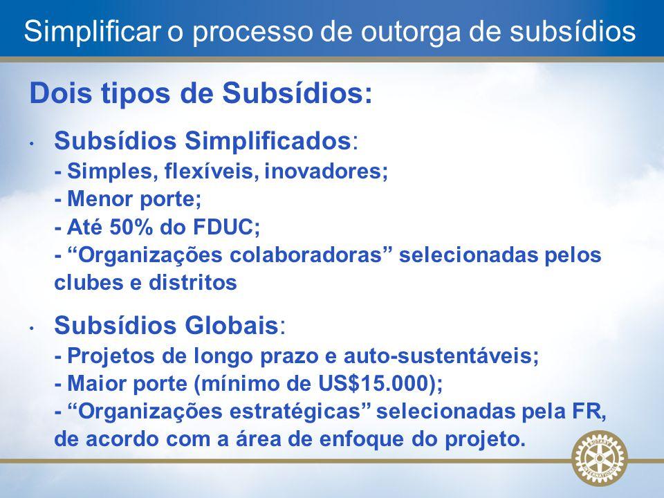 Simplificar o processo de outorga de subsídios Dois tipos de Subsídios: Subsídios Simplificados: - Simples, flexíveis, inovadores; - Menor porte; - At