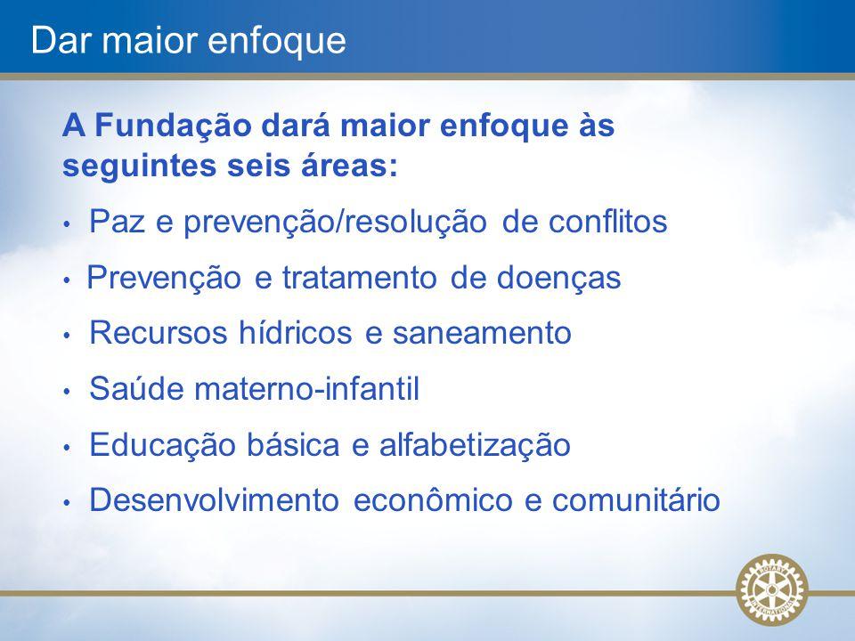 Dar maior enfoque A Fundação dará maior enfoque às seguintes seis áreas: Paz e prevenção/resolução de conflitos Prevenção e tratamento de doenças Recu