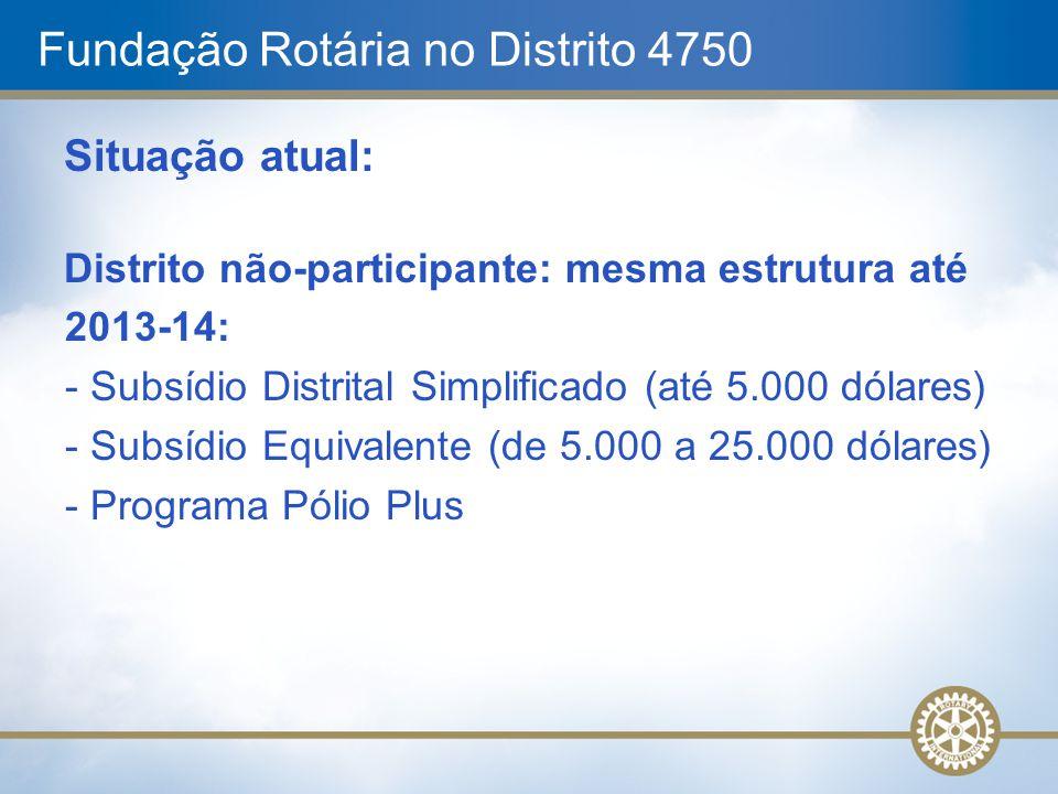 Fundação Rotária no Distrito 4750 Situação atual: Distrito não-participante: mesma estrutura até 2013-14: - Subsídio Distrital Simplificado (até 5.000