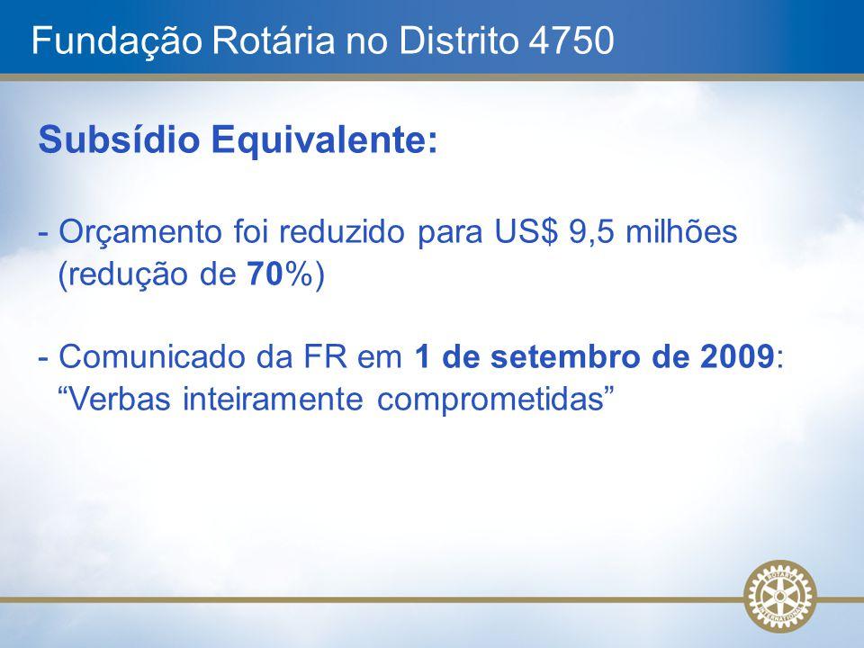 Fundação Rotária no Distrito 4750 Subsídio Equivalente: - Orçamento foi reduzido para US$ 9,5 milhões (redução de 70%) - Comunicado da FR em 1 de sete