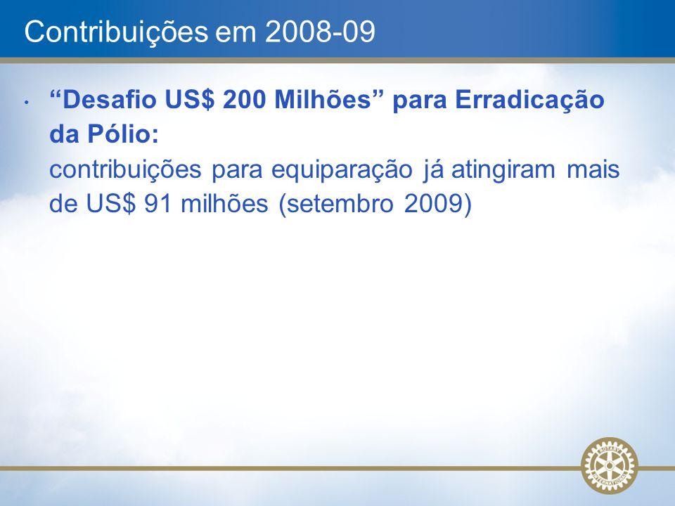 """Contribuições em 2008-09 """"Desafio US$ 200 Milhões"""" para Erradicação da Pólio: contribuições para equiparação já atingiram mais de US$ 91 milhões (sete"""