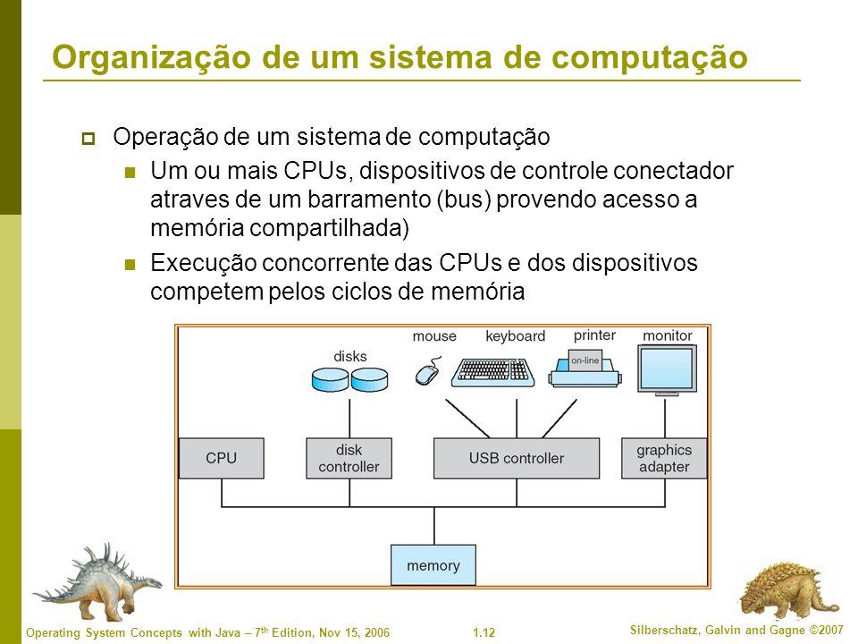 1.12 Silberschatz, Galvin and Gagne ©2007 Operating System Concepts with Java – 7 th Edition, Nov 15, 2006 Organização de um sistema de computação  O