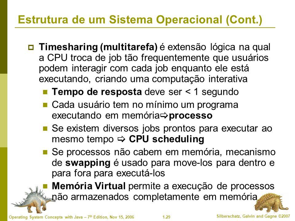 1.29 Silberschatz, Galvin and Gagne ©2007 Operating System Concepts with Java – 7 th Edition, Nov 15, 2006 Estrutura de um Sistema Operacional (Cont.)