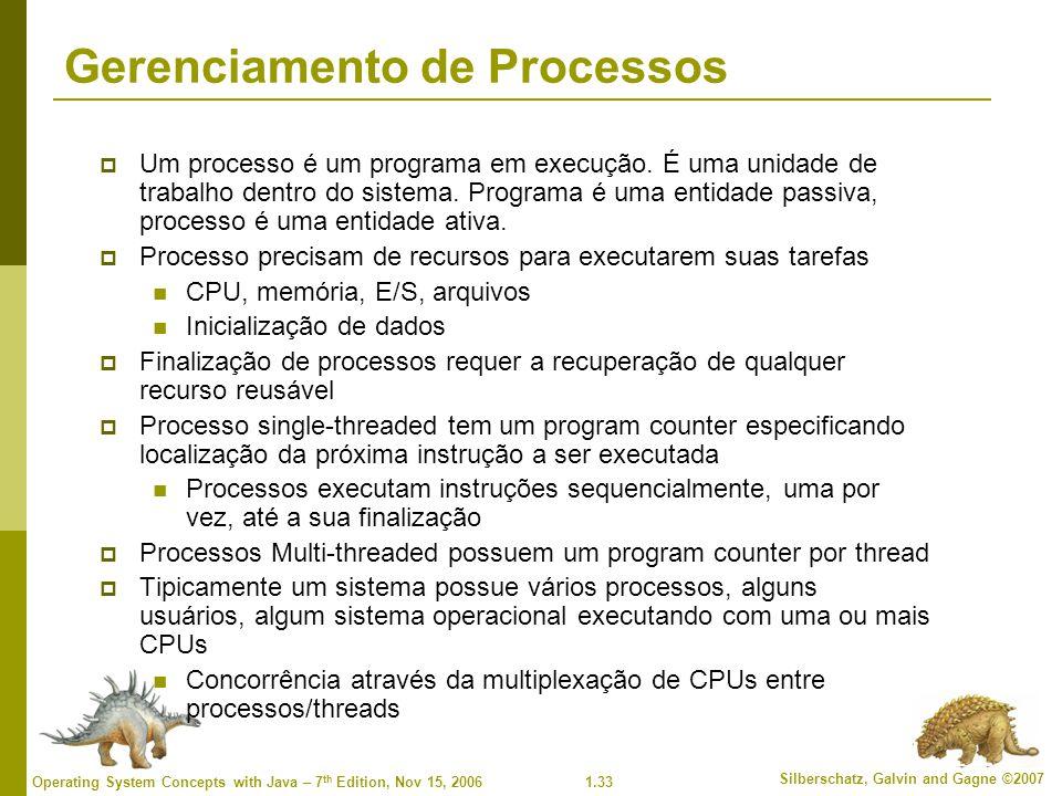 1.33 Silberschatz, Galvin and Gagne ©2007 Operating System Concepts with Java – 7 th Edition, Nov 15, 2006 Gerenciamento de Processos  Um processo é