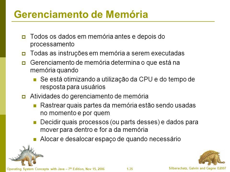 1.35 Silberschatz, Galvin and Gagne ©2007 Operating System Concepts with Java – 7 th Edition, Nov 15, 2006 Gerenciamento de Memória  Todos os dados e