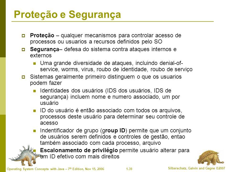 1.39 Silberschatz, Galvin and Gagne ©2007 Operating System Concepts with Java – 7 th Edition, Nov 15, 2006 Proteção e Segurança  Proteção – qualquer