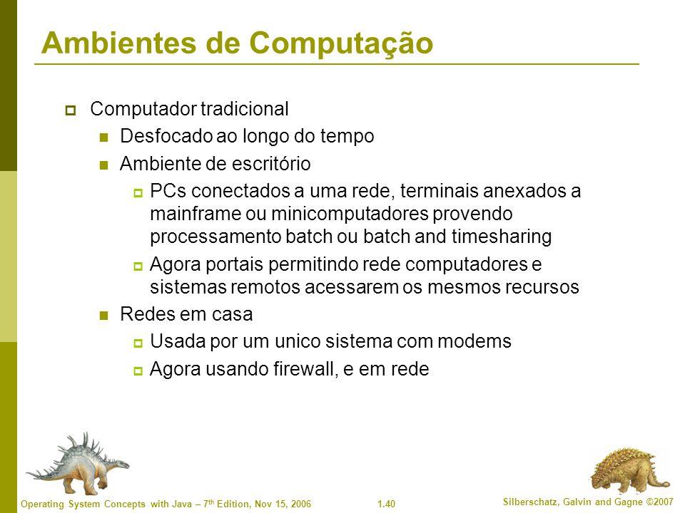1.40 Silberschatz, Galvin and Gagne ©2007 Operating System Concepts with Java – 7 th Edition, Nov 15, 2006 Ambientes de Computação  Computador tradic