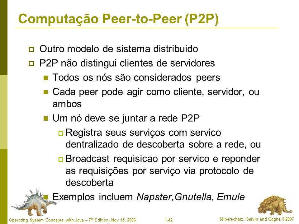 1.42 Silberschatz, Galvin and Gagne ©2007 Operating System Concepts with Java – 7 th Edition, Nov 15, 2006 Computação Peer-to-Peer (P2P)  Outro model