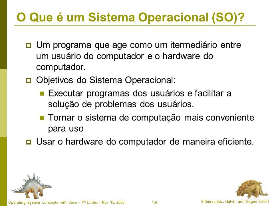 1.17 Silberschatz, Galvin and Gagne ©2007 Operating System Concepts with Java – 7 th Edition, Nov 15, 2006 Estrutura de E/S  Depois que a E/S iniciou, o controle retorna para o programa do usuário somente após a finalização da operação de E/S.