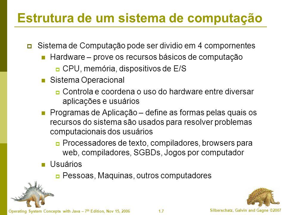 1.8 Silberschatz, Galvin and Gagne ©2007 Operating System Concepts with Java – 7 th Edition, Nov 15, 2006 4 Componentes de um sistema de computação