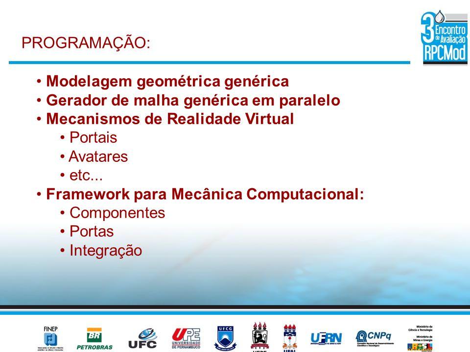 PROGRAMAÇÃO: Modelagem geométrica genérica Gerador de malha genérica em paralelo Mecanismos de Realidade Virtual Portais Avatares etc... Framework par