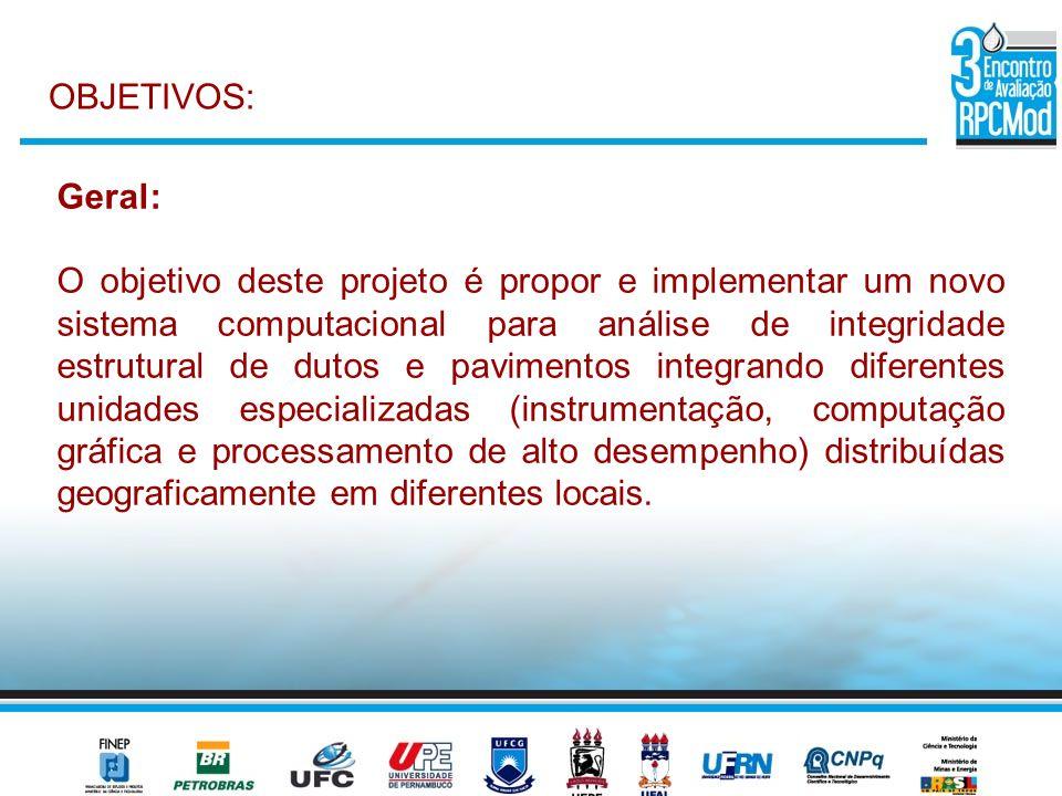 Geral: O objetivo deste projeto é propor e implementar um novo sistema computacional para análise de integridade estrutural de dutos e pavimentos inte