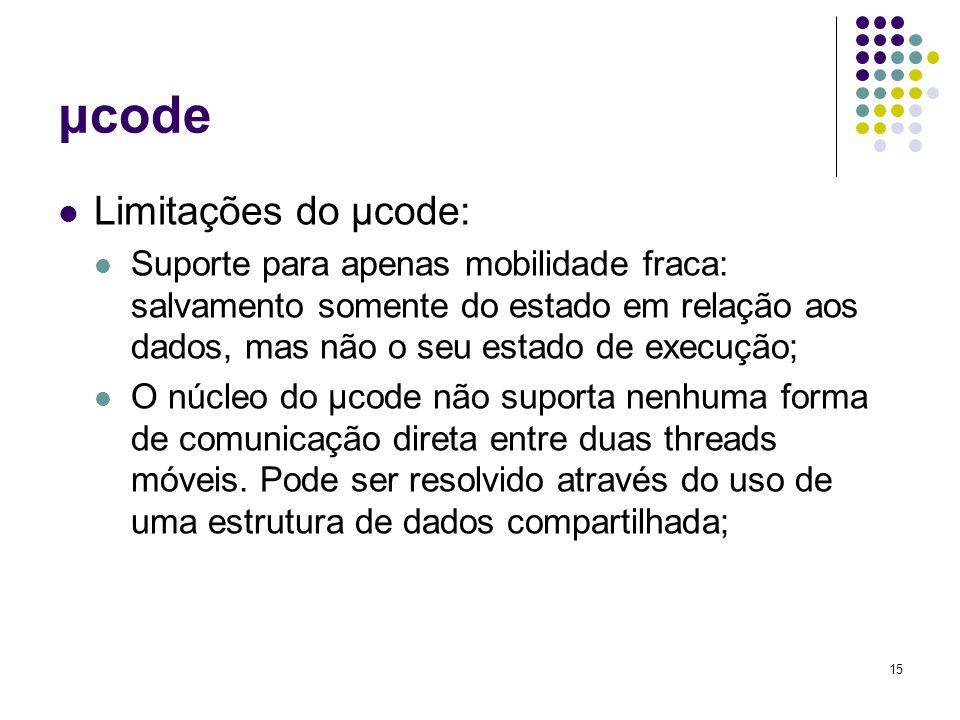 15 μcode Limitações do μcode: Suporte para apenas mobilidade fraca: salvamento somente do estado em relação aos dados, mas não o seu estado de execução; O núcleo do μcode não suporta nenhuma forma de comunicação direta entre duas threads móveis.
