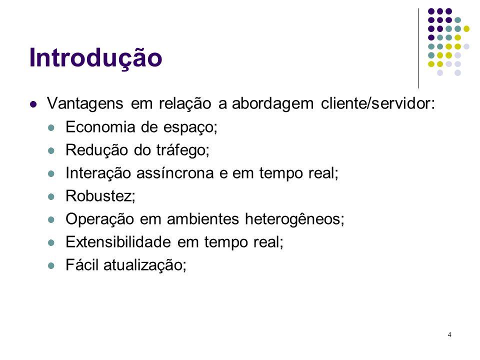 4 Introdução Vantagens em relação a abordagem cliente/servidor: Economia de espaço; Redução do tráfego; Interação assíncrona e em tempo real; Robustez; Operação em ambientes heterogêneos; Extensibilidade em tempo real; Fácil atualização;