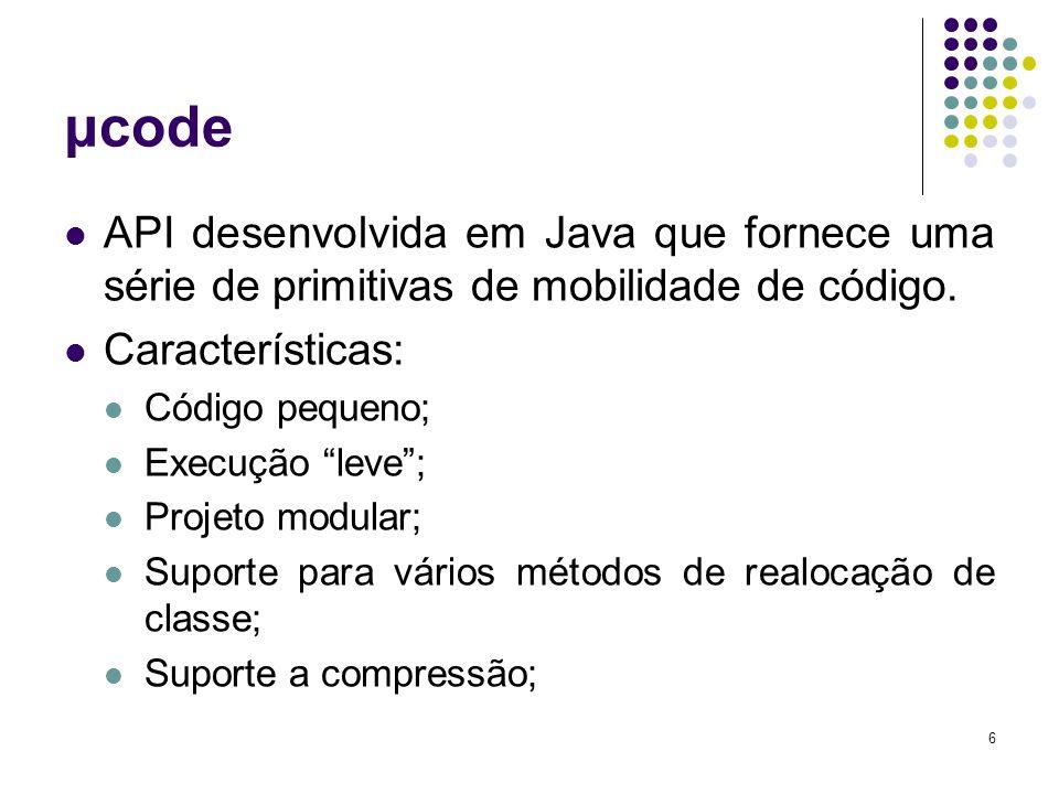 7 μcode Mobile Agent System X μcode: Hardware/SO JVMSem-JVM Mobile Agent System Eventos Persistência Segurança Comunicação Hardware/SO JVM μcode Mobile Agent ComunicaçãoSegurança Persistência