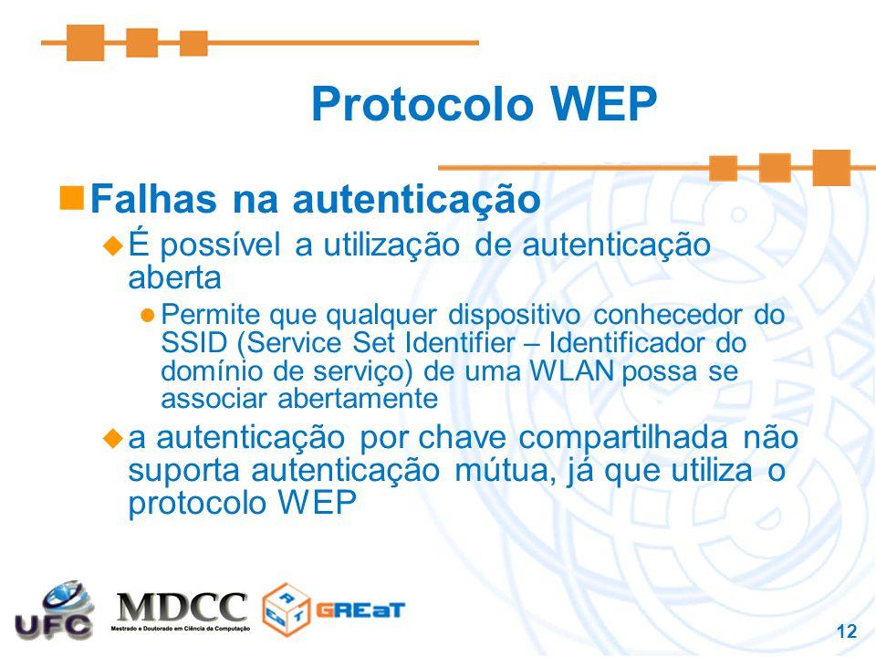 12 Protocolo WEP Falhas na autenticação  É possível a utilização de autenticação aberta Permite que qualquer dispositivo conhecedor do SSID (Service Set Identifier – Identificador do domínio de serviço) de uma WLAN possa se associar abertamente  a autenticação por chave compartilhada não suporta autenticação mútua, já que utiliza o protocolo WEP