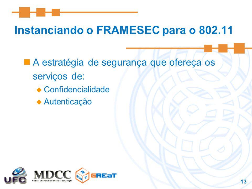 13 Instanciando o FRAMESEC para o 802.11 A estratégia de segurança que ofereça os serviços de:  Confidencialidade  Autenticação