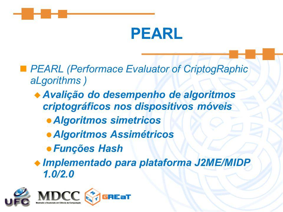 PEARL PEARL (Performace Evaluator of CriptogRaphic aLgorithms )  Avalição do desempenho de algoritmos criptográficos nos dispositivos móveis Algoritmos simetricos Algoritmos Assimétricos Funções Hash  Implementado para plataforma J2ME/MIDP 1.0/2.0