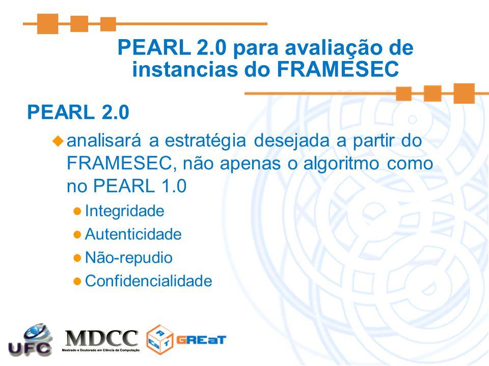 PEARL 2.0 para avaliação de instancias do FRAMESEC PEARL 2.0  analisará a estratégia desejada a partir do FRAMESEC, não apenas o algoritmo como no PEARL 1.0 Integridade Autenticidade Não-repudio Confidencialidade