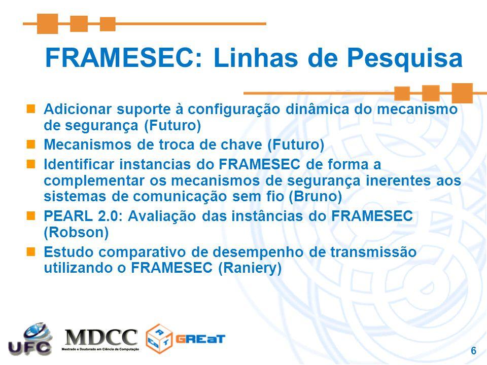 6 FRAMESEC: Linhas de Pesquisa Adicionar suporte à configuração dinâmica do mecanismo de segurança (Futuro) Mecanismos de troca de chave (Futuro) Identificar instancias do FRAMESEC de forma a complementar os mecanismos de segurança inerentes aos sistemas de comunicação sem fio (Bruno) PEARL 2.0: Avaliação das instâncias do FRAMESEC (Robson) Estudo comparativo de desempenho de transmissão utilizando o FRAMESEC (Raniery)