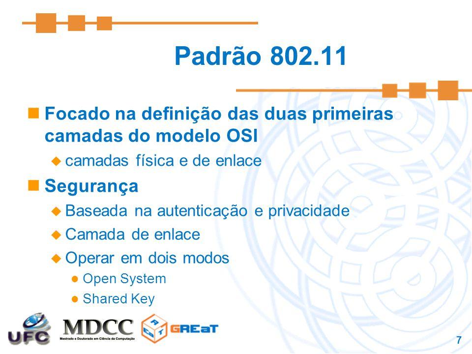 7 Padrão 802.11 Focado na definição das duas primeiras camadas do modelo OSI  camadas física e de enlace Segurança  Baseada na autenticação e privacidade  Camada de enlace  Operar em dois modos Open System Shared Key