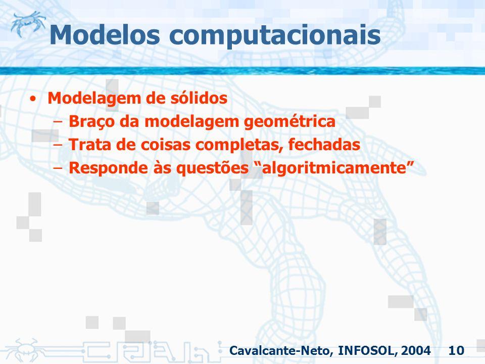 """10 Modelos computacionais Modelagem de sólidos –Braço da modelagem geométrica –Trata de coisas completas, fechadas –Responde às questões """"algoritmicam"""