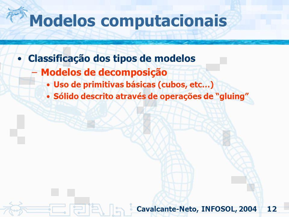 12 Modelos computacionais Classificação dos tipos de modelos –Modelos de decomposição Uso de primitivas básicas (cubos, etc…) Sólido descrito através