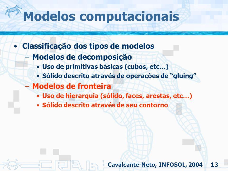13 Modelos computacionais Classificação dos tipos de modelos –Modelos de decomposição Uso de primitivas básicas (cubos, etc…) Sólido descrito através