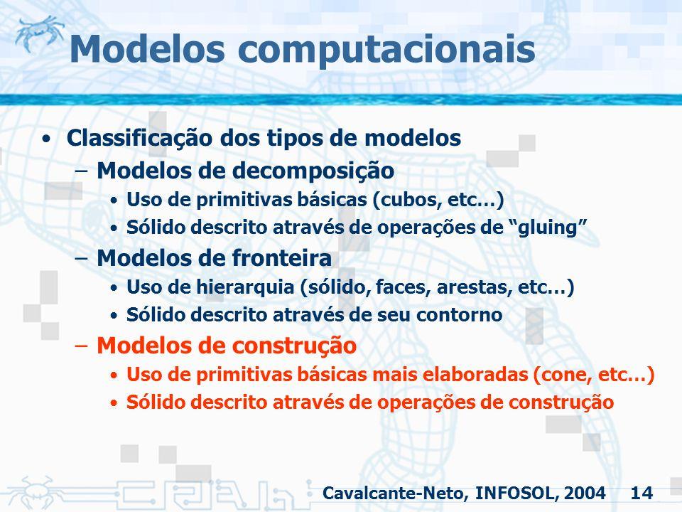 14 Modelos computacionais Classificação dos tipos de modelos –Modelos de decomposição Uso de primitivas básicas (cubos, etc…) Sólido descrito através